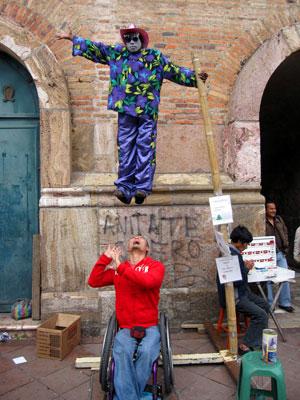 Hanging in Plaza Calderon in Cuenca Ecuador